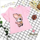 皇冠小鹿荷葉花邊袖上衣 短袖 上衣 可愛 女童 韓版 針織 刺繡 鹿 亮片 粉紅 T恤 荷葉袖