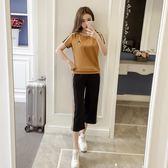 運動套裝 中大碼 2019夏季新款韓版休閒女裝運動服套裝兩件套短袖七分闊腿褲套裝