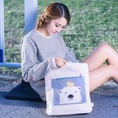 帆布包女單肩韓國文藝手提帆布袋環保袋休閒簡約ins女包   卡布奇諾