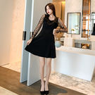 VK精品服飾 韓系小翻領五角星網紗袖拼接純色長袖洋裝