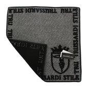 TRUSSARDI 立體獵狗徽章棉質方巾(灰黑)989045-308