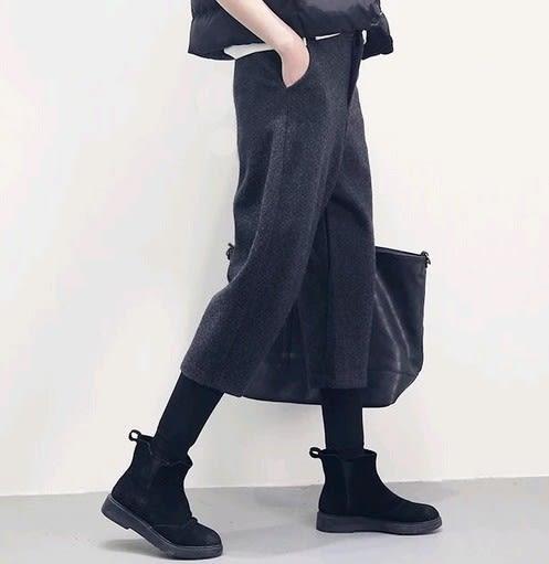 EASON SHOP(GU4791)鬆緊腰毛呢挺版寬褲女八分褲素色秋冬裝韓版寬鬆哈倫直筒高腰西裝褲黑褲休閒褲