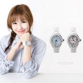Valentino范倫鐵諾 雪白精密全陶瓷珍珠貝面手錶 旋轉外框設計 柒彩年代【NE1054】原廠公司貨