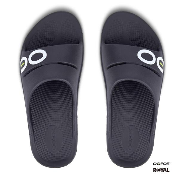 美國Oofos 新竹皇家 黑色 氣墊 輕量 健康 舒壓拖鞋 男款 No.A9817
