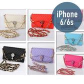 iPhone 6 (4.7吋) 壓邊吊墜皮套 插卡 側翻 皮包 手機套 手機殼 保護套 保護殼 配件 皮包