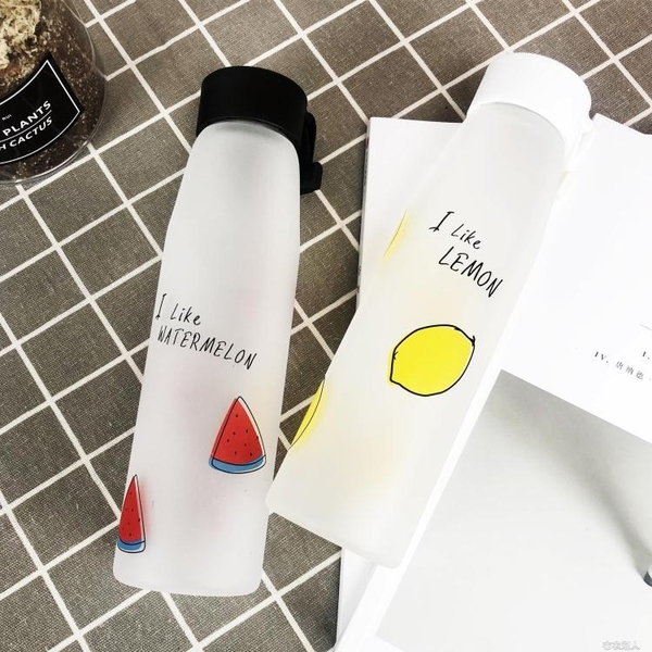 隨行杯 韓版潮流清新磨砂玻璃杯韓國可愛女學生小清新水杯便攜隨行水杯子 布衣潮人