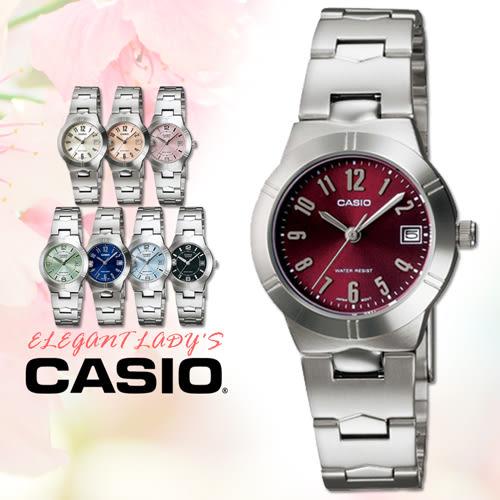 CASIO手錶專賣店 卡西歐 LTP-1241D-4A2 女錶 酒紅 不繡鋼錶帶 強力防刮礦物玻璃 一次觸碰式三折式