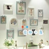 歐式簡約實木照片墻現代創意組合相框客廳掛墻臥室相片墻【奇趣小屋】