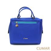 【CUMAR女包】風格撞色長拉鍊小方包-亮藍