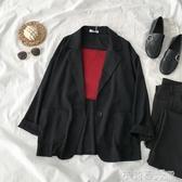 小西裝外套秋季2019新款女裝韓版網紅港味復古休閒寬鬆一粒扣上衣 茱莉亞