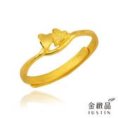 Justin金緻品 黃金女尾戒 雙心 金飾 黃金戒指 愛心 9999純金女戒子 成雙成對