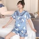 睡衣女夏季冰絲短袖韓版性感薄款仿真絲綢夏...