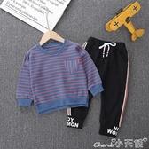 兒童長袖套裝男寶寶秋裝套裝秋季新款洋氣童裝兒童圓領條紋長袖衛衣兩件套 聖誕節