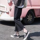 牛仔褲好康推薦百搭寬牛仔褲女夏正韓休閒學生bf黑色學院風寬鬆直筒褲