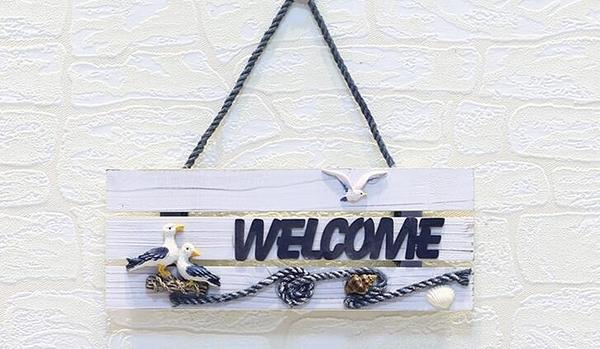 照片墻配飾Welcome掛牌木質門牌店鋪歡迎光臨掛件地中海創意壁飾 潮流衣舍