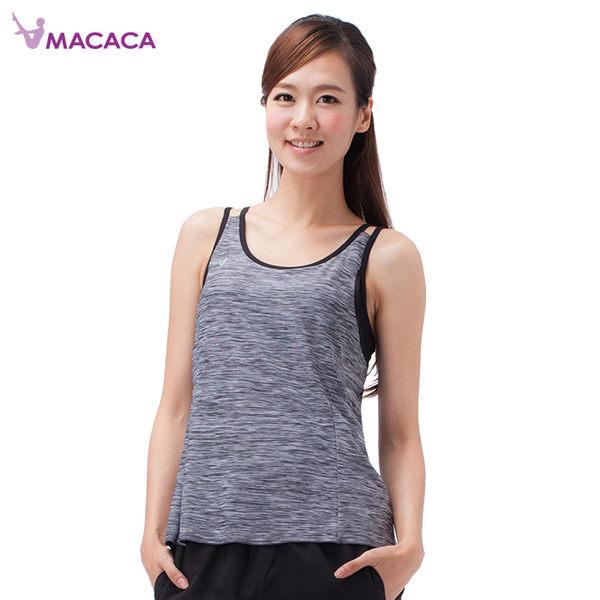 【MACACA】花影輕舞2in1 背心-AWG1171(黑緞彩/ 黑)(瑜伽/慢跑/健身/輕運動)