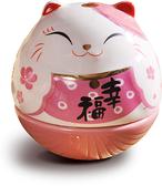 【金石工坊】迷你不倒翁 祈願幸福不倒貓 粉紅色招財貓(高6CM) 桌上擺飾 開運擺飾