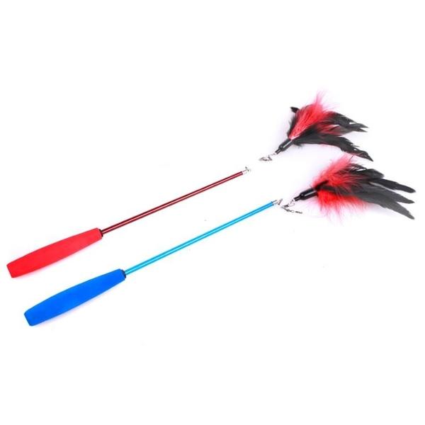 三節伸縮型 羽毛毛毛蟲逗貓棒貓玩具 釣魚竿逗貓棒