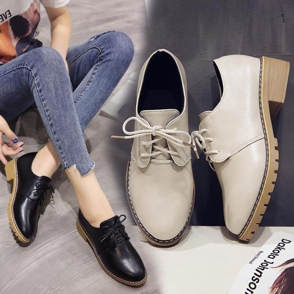 2021春季新款復古英倫系帶圓頭小皮鞋中跟單鞋粗跟牛津鞋大碼女鞋 3C數位百貨