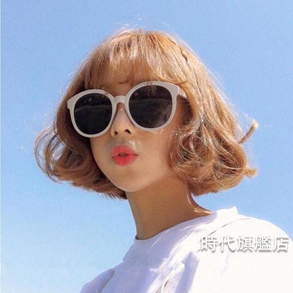 原宿墨鏡女復古圓框太陽鏡米白色邊框修臉果凍粉眼鏡(免運)
