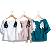 H2O 秋 大圓領點點綁帶裝飾五分袖針織上衣 - 綠/白/粉色 #1631001