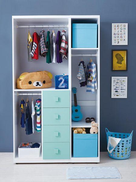 【森可家居】天天晴朗4尺開門衣櫥 7JX55-7 兒童 衣櫃 北歐風