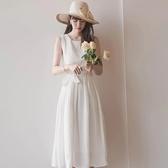 洋裝 韓版 婚禮小禮服 無袖蕾絲中長款白色連身裙 入秋首選