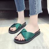 一字拖拖鞋女外穿夏季新款一字平底鬆糕拖百搭韓版學生時尚沙灘鞋潮 蘿莉小腳丫