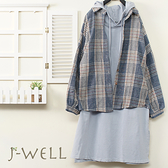 J-WELL 落肩袖口格紋襯衫口袋長版帽T二件組(組合A549 9J1023藍+8J1343藍)