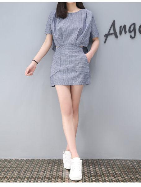 找到自己 G5 韓國時尚 夏季 條紋 連身裙 復古 顯瘦 棉麻 女裙