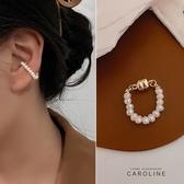 《Caroline》法式古典金色單層迷你淡水珍珠磁吸式高級訂製款無耳洞耳夾無痛耳骨夾(單只)72684