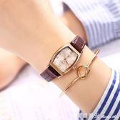 復古方形手錶女學生韓版防水時尚潮細帶小錶盤女士石英錶皮帶女錶 全網最低價最後兩天