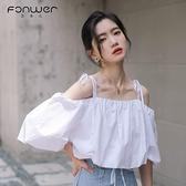 夏季春裝泡泡袖露肩短袖一字領甜辣上衣薄女士白色襯衫設計感小眾 喵小姐