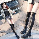 皮靴子女秋冬季新款圓頭粗跟低跟防水臺騎士靴過膝長靴彈力靴    原本良品