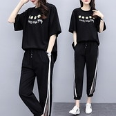 套裝兩件式 L-5XL 夏裝新款大碼女裝胖mm短袖刺繡爆款9分褲套裝2965 4F088 依品國際