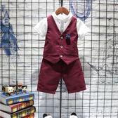 男童禮服小西裝套裝夏兒童馬甲三件套夏季男孩花童表演服CC1555『Pink領袖衣社』