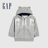 Gap嬰兒 碳素軟磨系列 Logo法式圈織熊耳連帽外套 682870-淺灰色