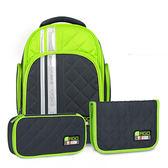 Tiger Family彩虹超輕量護脊書包+文具袋+鉛筆盒-萊姆綠