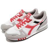 DIADORA 復古慢跑鞋 Titan II 灰 紅 基本款 經典款 拼接設計 運動鞋 男鞋【PUMP306】 DA158623C6112