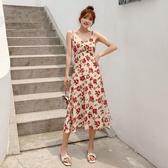 [促銷全場八五折]夏季新款女裝顯瘦收腰氣質復古碎花長裙V領過膝吊帶連衣裙女