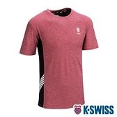 【超取】K-SWISS KS Logo W/5 Stripe Tee涼感排汗T恤-女-紅
