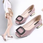 大尺碼女鞋春季新款百搭小碼方頭大碼41-43女鞋粗跟社會豆豆鞋女 Ic918