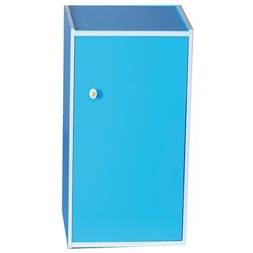 漾彩日式三格一門收納櫃-水藍色【愛買】
