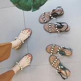 珍珠羅馬坡跟沙灘涼鞋 女平底鞋【多多鞋包店】z2431