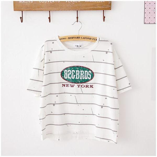 梅梅露*【69010278】T恤。顛倒漆掉字母短袖圖T上衣