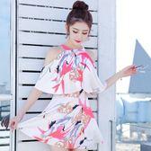 泳裝 小清新裙式連體泳衣女保守遮肚性感顯瘦大小胸聚攏學生韓國泳裝女