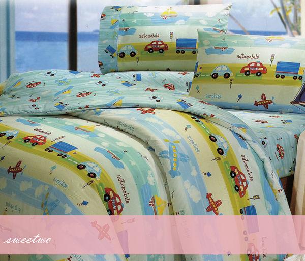 加大雙人床包組【薄床包+薄枕套*2】(6*6.2尺)/三件式100%美國棉『車車物語』