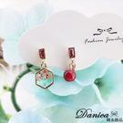 韓國氣質甜美巴洛克風相思紅豆幾何水鑽不對稱925銀針夾式耳環 S93605 批發價 Danica 韓系飾品