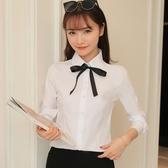 春秋白襯衫女長袖工作服職業裝正韓學生學院風蝴蝶結大碼職業襯衣 快速出貨