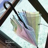 日系清新可愛透明女款學生彩虹傘半自動長柄傘雨傘透明傘直傘  遇見生活